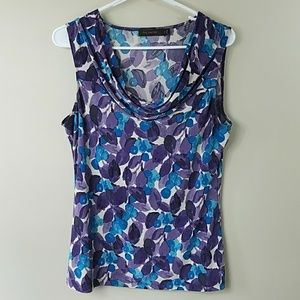 The Limited Abstract Print Cowl Neck Tank Top